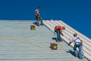 commercial roofing in progress