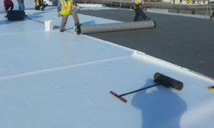 single ply roofing work